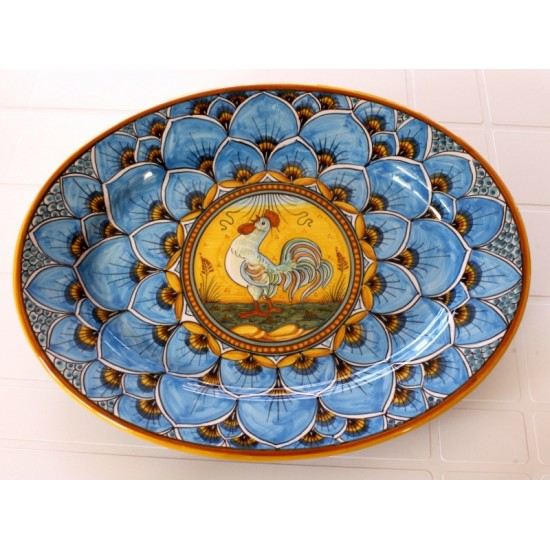 """OVAL38 114 - OVAL 15"""" BLUE ROOSTER"""