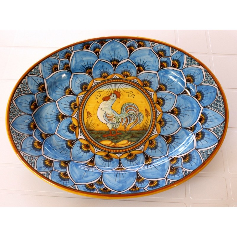 "OVAL38 114 - OVAL 15"" BLUE ROOSTER"