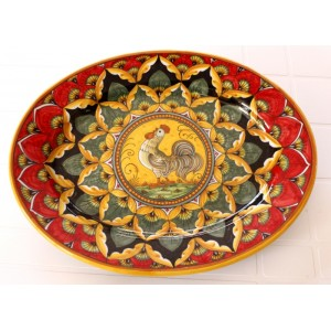 """OVAL38 112 - OVAL 15"""" RED ROOSTER"""