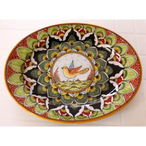 """OVAL38 116 - OVAL 15"""" GREEN RED BIRD"""