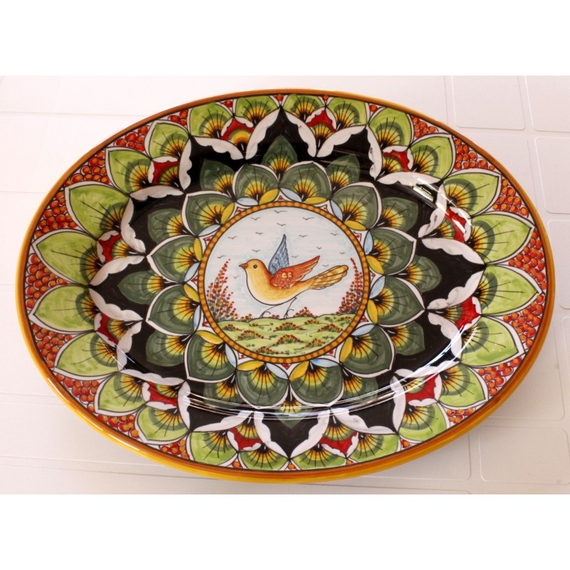 "OVAL38 116 - OVAL 15"" GREEN RED BIRD"